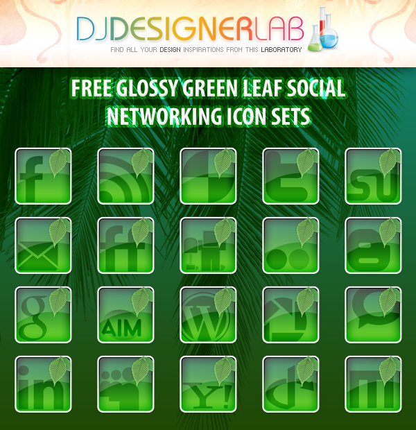 Free Glossy Green Leaf Social Networking Icon Set
