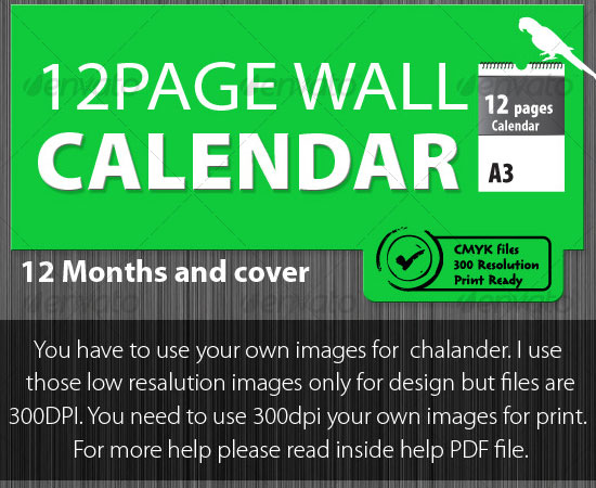 20 Beautiful and Useful Premium Calendar Resources with PSD/EPS File 12