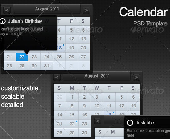 20 Beautiful and Useful Premium Calendar Resources with PSD/EPS File 3
