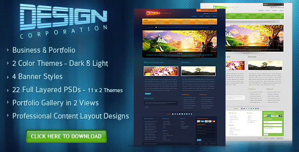 DESIGN CORPORATION – FREE PSD Template by djdesignerlab