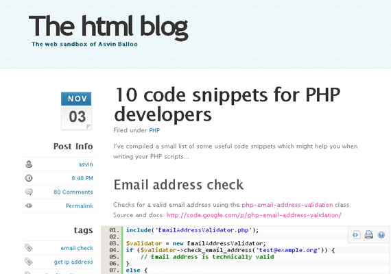 20 Excellent Code Snippet Resources 14
