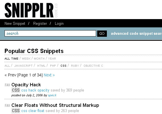 20 Excellent Code Snippet Resources 8