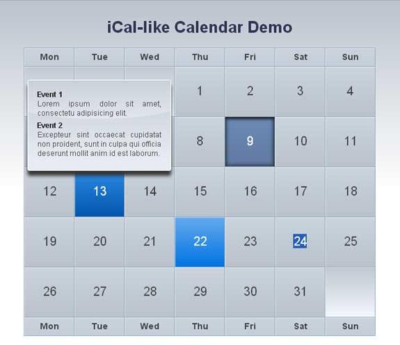 10 Beautiful jQuery Calendar Plugins 6