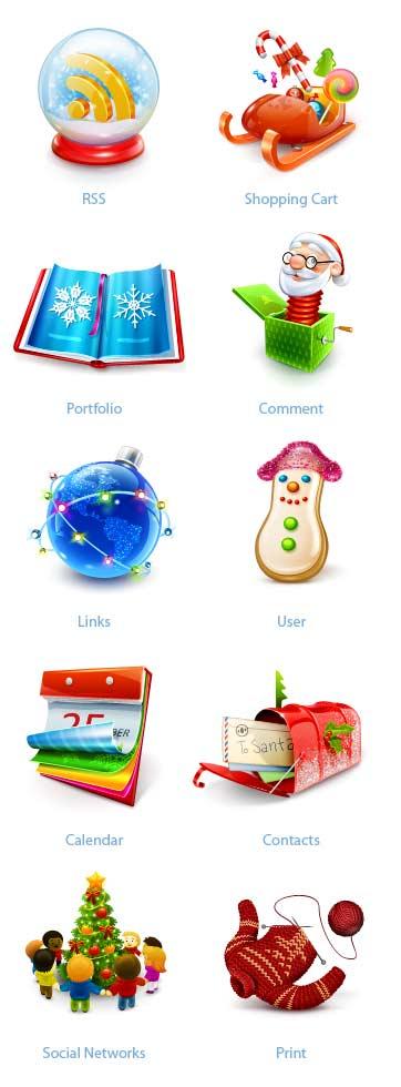 10 Beautiful Set of Christmas Icons for Web Designers 8