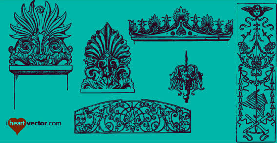 20 Free Set of Ornaments Vector Resources 10