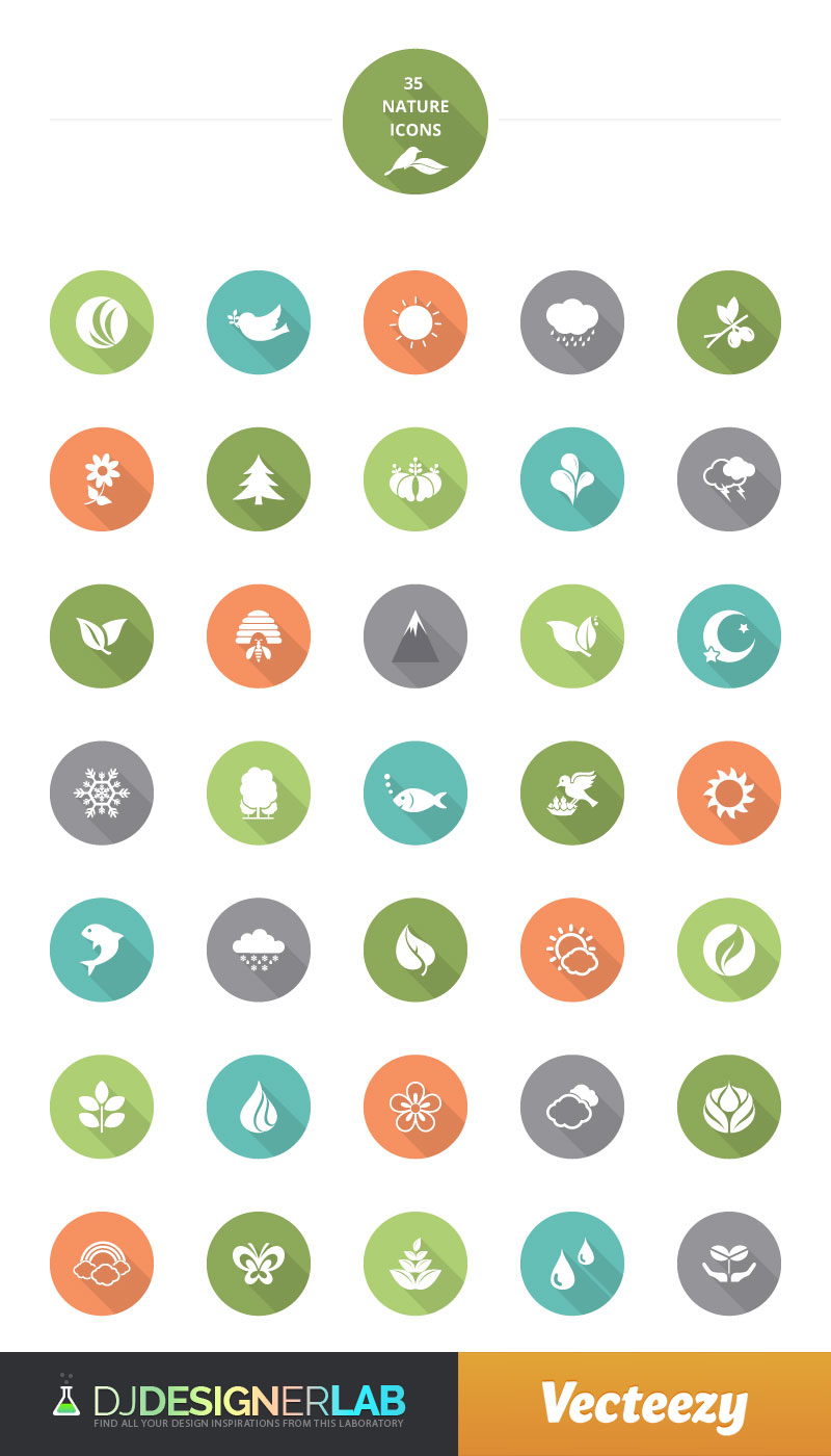 Flat Colorful Nature Free Vector Icon Set